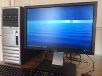 HP, Core2Duo 4GB Ram / 500GB / Windows 10 / Wifi / Office + Dell Monitor Desktop PC Computer