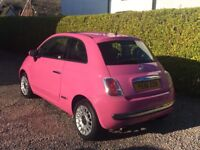 Pink Fiat 500 with Sunroof and Low Mileage, Excellent Condition