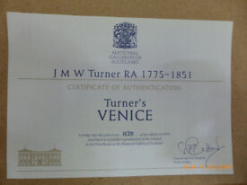 4 Framed authenticated reproductions of Venice scenes by Turner
