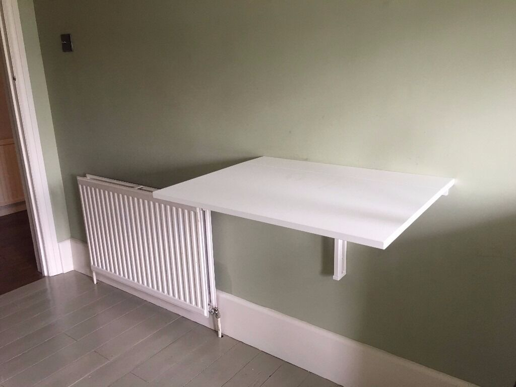 Ikea norberg wall mounted folding drop leaf table white in woking surrey gumtree - Wall mounted drop leaf table white ...