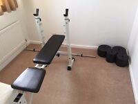 Gym bench with weight equipment set