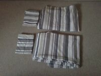2 X single duvet covers,beige stripe modern design,pillowcases, 2x fitted sheets, Ex condition