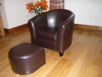 Brown Faux Leather Childs Bucket Chair and Footstool
