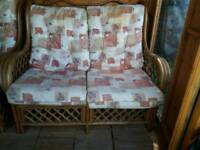 Wicker cane 2 seater and 1 seater sofa