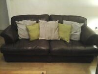 large chocolate brown 5 seater leather sofa