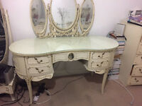 Harrods French Louis Style Bedroom Chest Dressing Table with triple Mirror and Stool