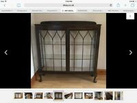DISPLAY CABINET ART DECO 2 DOOR GLASS CHINA CURIOSITY DISPLAY CABINET WITH CLAW & BALL FEET