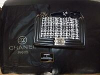 Tweed Chanel Le Boy medium size for sale with silver logo and chain