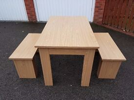 Oak Effect Dining Table & 2 Benches FREE DELIVERY 121