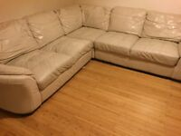 Cream leather corner sofa - used but in decent condition