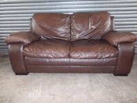 Large Brown Leather 2-seater Sofa
