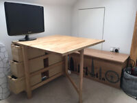 Expandable oak IKEA table/desk with in-build storage - in excellent condition