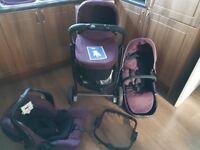 Plum colour Eco Graco pushcahir/pram and newborn car seat (car seat never been used)