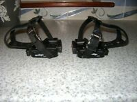 Wellgo M085 MTB / Road bike racing pedals & cages, toe clip traps, 9/16th. As new.