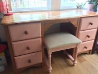 pine wood desk with drawers and stool + paint
