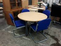 Round Beech Meeting Table With 4 Chairs