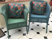 Two Vintage Lloyd Loom 1950s Chairs