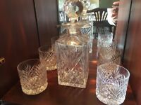 Tyrone Crystal Whiskey Decanter & Glasses