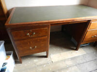 Antique Desk with Green Inlay