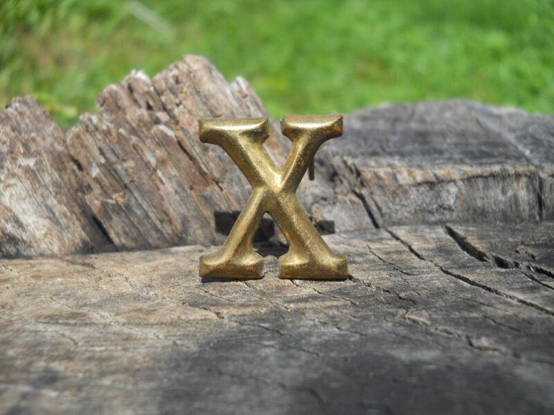 Rare Original Vintage Antique Civil War Relic Company Letter X Brass Lead Filled