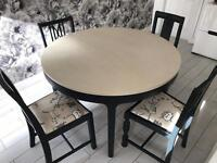 Unique dining /kitchen table with four different chairs