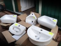 4 Cloakroom/washroom wall hung hand basins