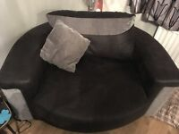 Swivel (cuddler) chair, black and grey, seats up to two people, £225