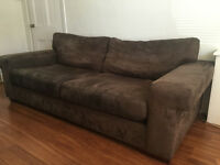 3 Seater Suede Sofa and Matching Armchair, Wooden Feet, very good condition for sale