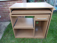 COMPUTER DESK WITH DRAWER AND TWO PULL OUT SHELVES