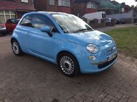 2012 FIAT 500 LOUNGE 1.2 70BHP HATCHBACK,BLUE,PETROL,MANUAL,ALLOYS,£30ROAD TAX,LOW MILES,HPI CLEAR
