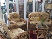Burdekin conservatory furniture 1 X sofa, 2 x chairs and matching coffee table