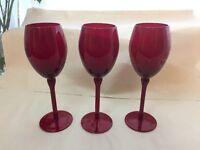 3 Wine Glasses (Red Colour)