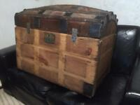 Large antique dome chest trunk bedding box project