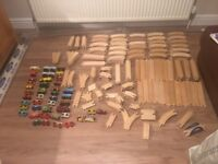 WOODEN TRAIN TRACK PLUS ACCESSORIES OVER 200 BITS