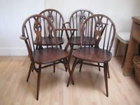 Set of 4 Original Vintage Ercol Fleur De Lys Low Back Kitchen / Dining Chairs - Wonderful condition