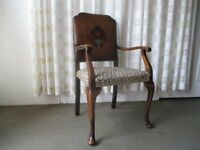 VINTAGE MAHOGANY FRAMED CARVER CHAIR WITH HAND PAINTED LEATHER BACK