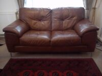 TWO SEATER CHESTNUT LEATHER SOFA