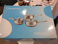 cookworks 3 saucepans set