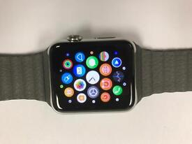 Apple Watch Stainless Steel sapphire crystal glass 42mm with leather strap screen is mint condition