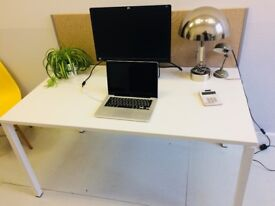 White Office Desk with sand coloured fabric divider