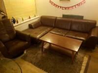 Leather corner sofa and rocking armchair , coffee table , rug bundle