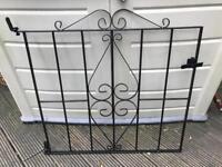 Lovely Wrought Iron Black Garden Gate H81cm x W93cm