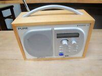 Pure Evoke 1 DAB radio in wood