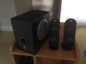 Logitech x-230 speakers, sub-woofer 20 watts and 2 satellite speakers 6 Watts each