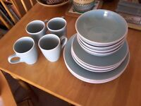 16 piece dinnerware set. Duck-egg blue