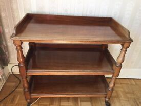 Antique 3 tier dining trolley