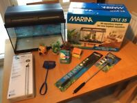 ** Great Condition ** - Marina Style 35 Litre Glass Aquarium Set & Accessories