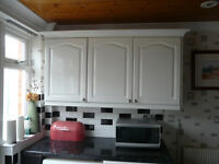 Complete units for smallish kitchen. Including very clean gas cooker and fridge freezer.