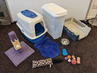 cat/kitten starter bundle (carrier, tray, dispenser, toys, bowls, etc)