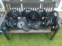 Olympic Weight Plates - Rubber coated Tri-Grip weight plates - 120kg AS NEW